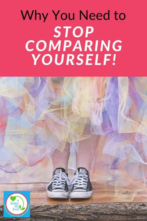 "A woman wearing converse tennis shoes and a rainbow long tulle skirt with text overlay ""Why you need to stop comparing yourself!"""