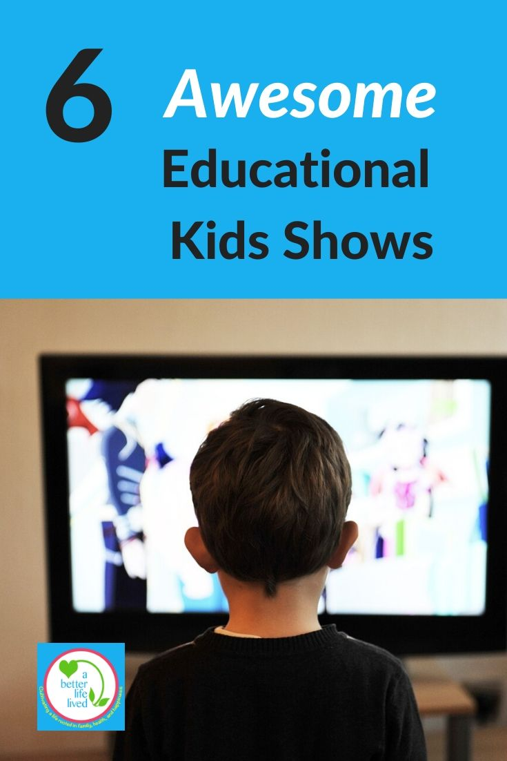 "Kid in front of TV with text overlay ""6 awesome educational kids shows"""