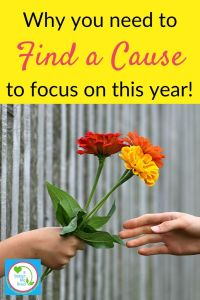 "Someone handing flowers to someone else with text overlay ""why you need to find a cause to focus on this year"""