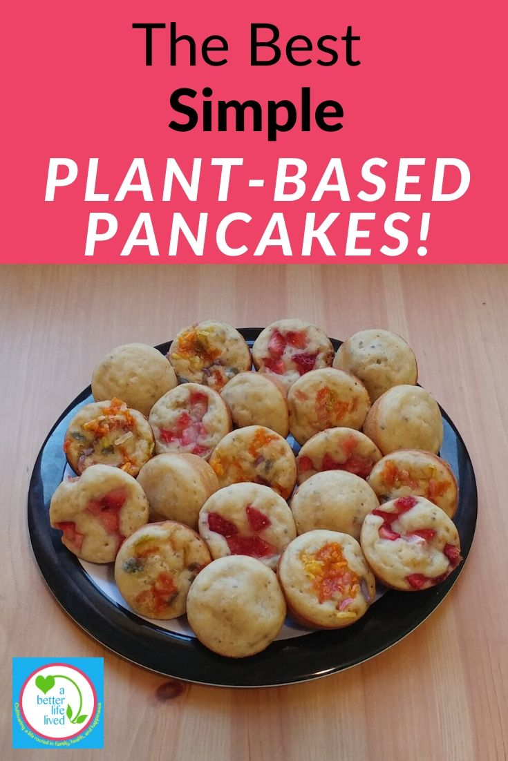 "A plate of Pancake muffins with text overlay ""The Best Simple Plant-Based Pancakes!"""