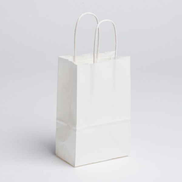 Small Paper Shopping Bags - White | A&B Store Fixtures