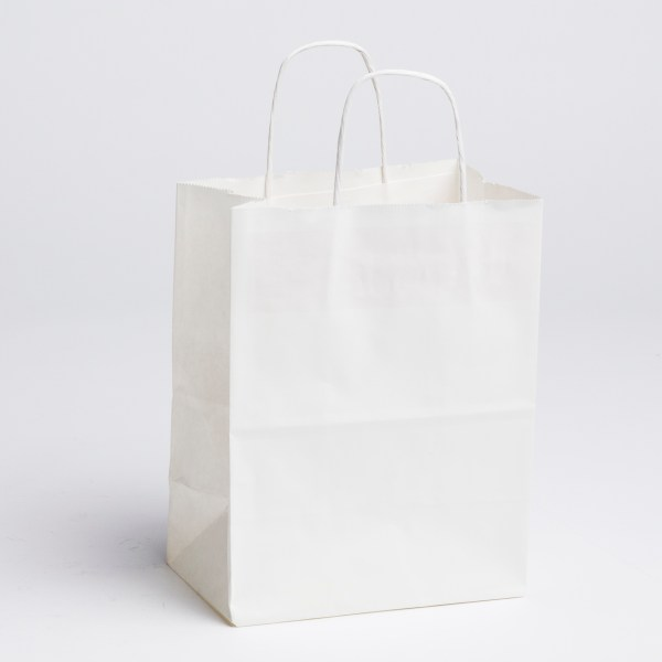 Paper Shopping bags - White, Medium | A&B Store Fixtures