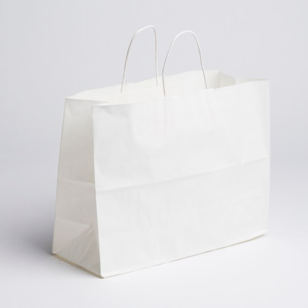 Paper Shopping Bags- White, Large | A&B Store Fixtures