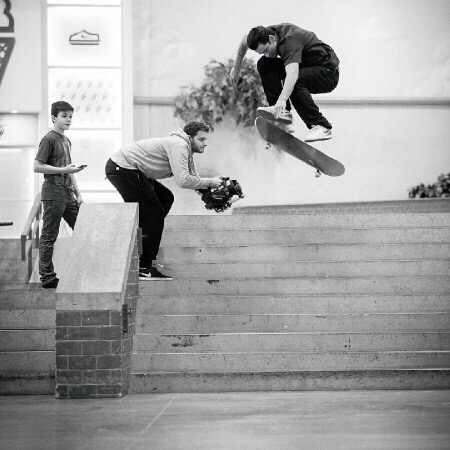 P-Rod ollies the Berrics stairs while Dawson Renna looks on