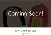 Paytm  percent cashback on apparels