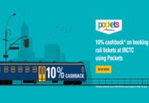 icici pockets  percent cashback at irctc offer