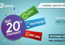 Mobikwik Get flat  cashback on recharge or bill payment of Rs  or more Selected Users GET