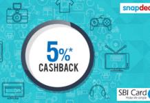 Snapdeal  cashback via SBI cards offer