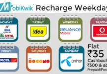 mobikwik recharge weekdays rs cashback offer