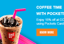 ICICI pockets cafe coffee day offer
