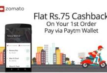 paytm zomato  cashback offer