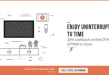 Freecharge Get  cb on first DTH recharge of Rs  loot offer
