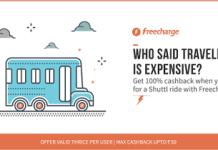 shuttl bus fare loot offer freecharge  cashback