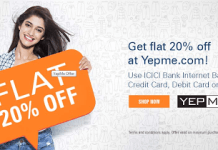 yepme icici bank  off offer