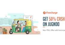 freecharge jugnoo  cashback offer
