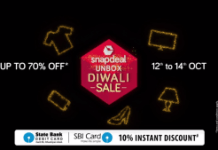 snapdeal unbox diwali sale from th oct to th oct  discount with SBI Cards