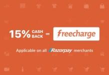 freecharge  cashback offer at razorpay