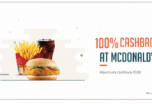Freecharge  cashback on Mc Donalds