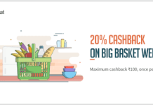 Big basket loot offer  cashback