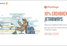 freecharge  cashback jet airways JETFCD