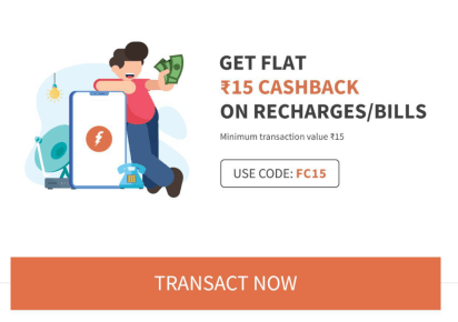 FreeCharge FC15- Flat Rs 15 Cashback on Recharge/Bill of Rs 15 or More