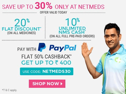 Netmeds Medicines PayPal Offer