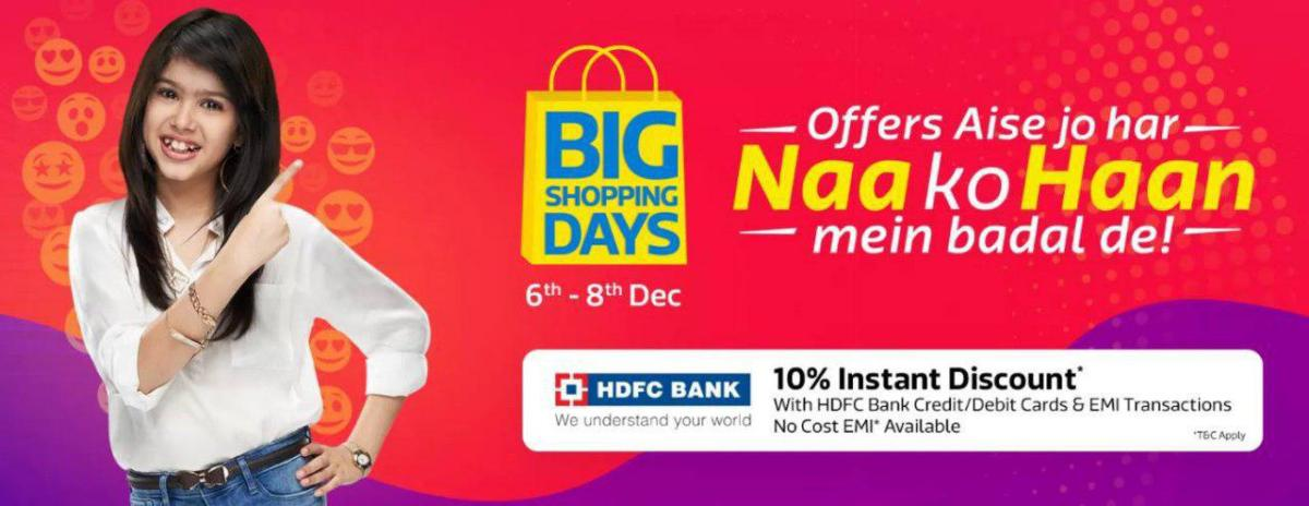 Flipkart Big Shopping Days: All Offers & Handpicked Deals (6-8th Dec)