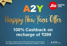 An Eligible Subscriber, who, during the subsistence of the Offer, performs the Recharge on or after 28th December, 2018, shall be entitled to Ajio Coupons. The Ajio Coupons shall be credited in the MyJio app of the Eligible Subscriber within 72 hours ofRecharge by the Eligible Subscriber. Ajio Coupons can be accessed under My Coupons in MyJio App.
