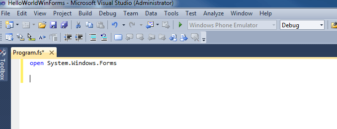 Open Winforms Namespace in F#