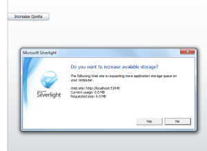 Silverlight 4 : Increase Quota Isolated Storage