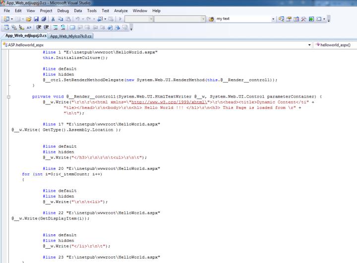 Generated server side script ASP.NET