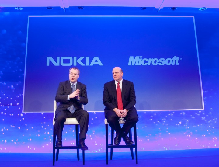 Nokia CEO Stephen Elop and Microsoft CEO Steve Ballmer announce plans for a broad strategic partnership to build a new global mobile ecosystem at a press conference in London, UK February 11, 2011. Nokia and Microsoft plan to form a broad strategic partne