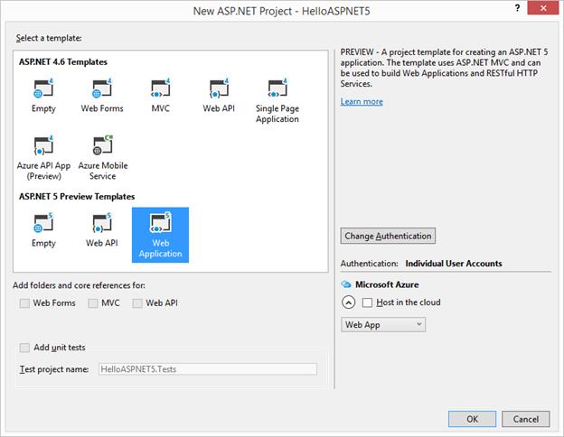 Hello World ASP.NET 5 Project