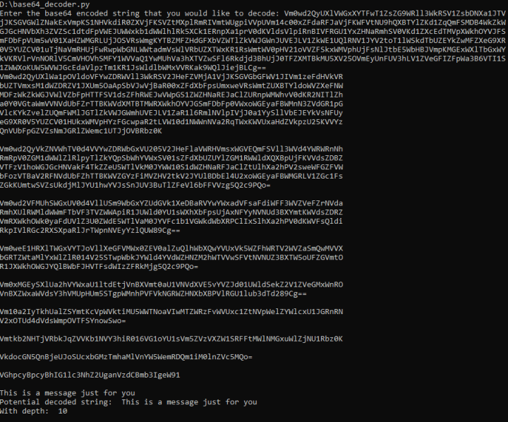 Image showing sample run of Base64 decoder