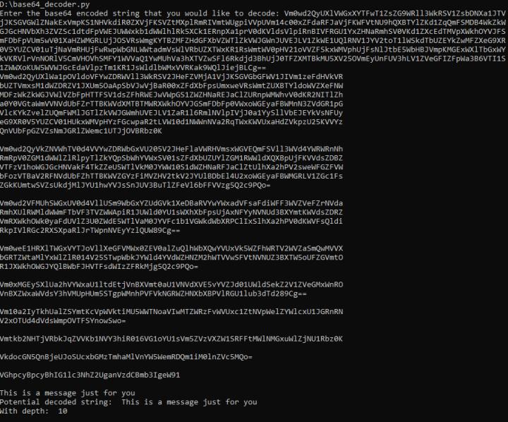 Image showing sample run of Base64 decoder