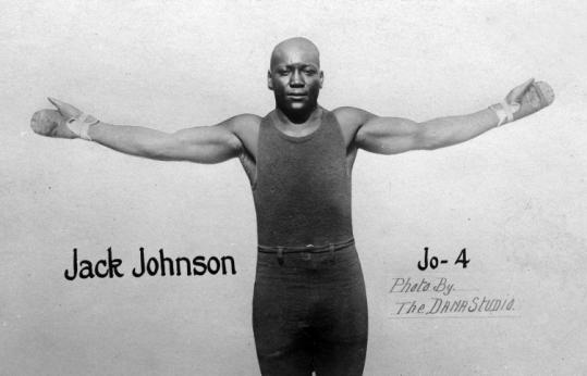 1910 photo postcard shows boxer Jack Johnson