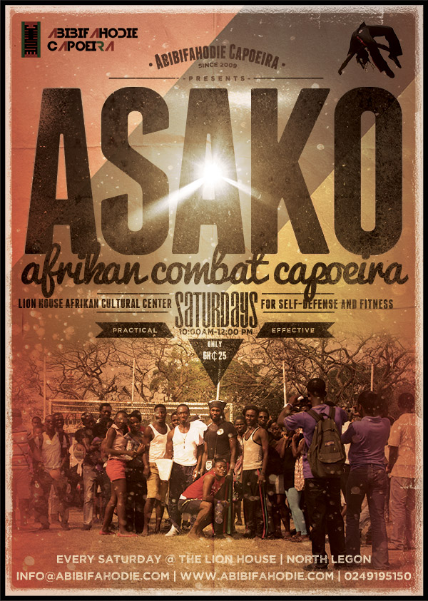 Abibifahodie Asako Afrikan=Black Combat Capoeira Flyer