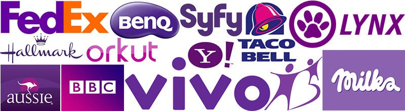 logos com roxo fedex, benq, syfy, taco bell, linx, hallmark, orkut, yahoo, milka, aussie, bbc, vivo