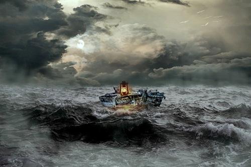 A boat amidst storm