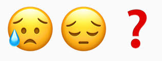 sad emoji and question mark