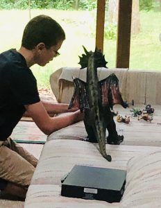 Boy playing with dragons