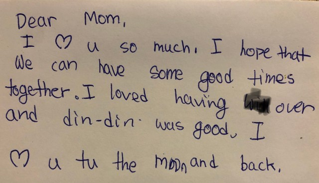 Dear Mom I love you note, found on the coffeepot. This note is why strong moms endure.
