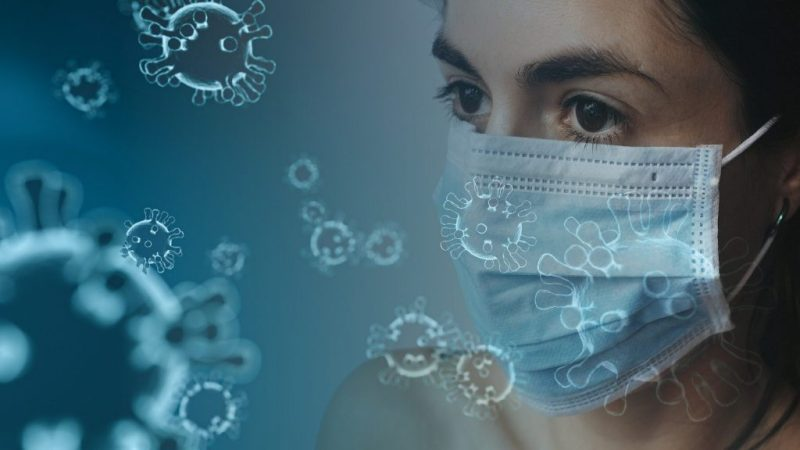 Woman with COVID-19 Mask and virus