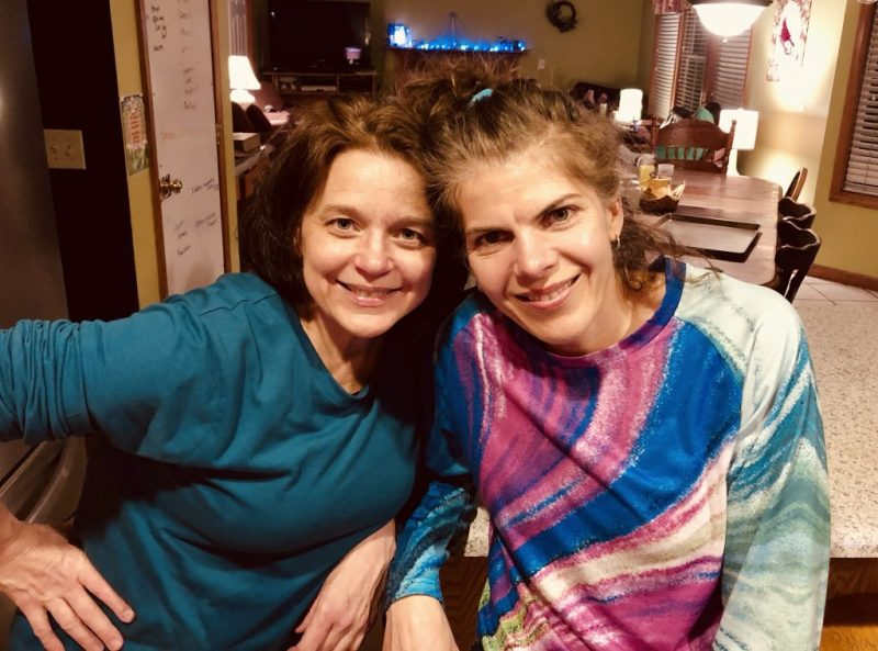 Two women smiling, Linda and author, influence
