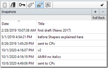 a screenshot from Scrivener of 6 dated and labeled drafts of a scene