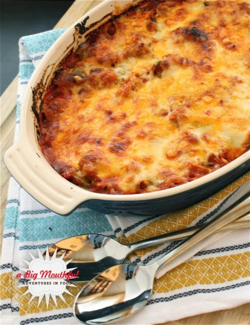 Spaghetti Squash Puttanesca Bake | A Big Mouthful