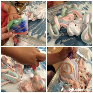 Shaving Cream hand therapy constraint activity