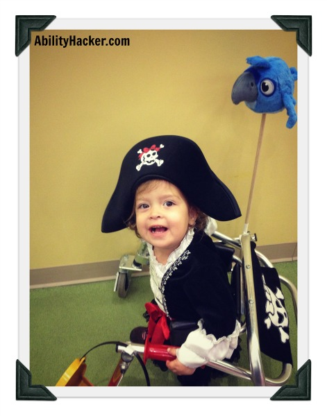 Aargh says the pirate girl in the posterior walker