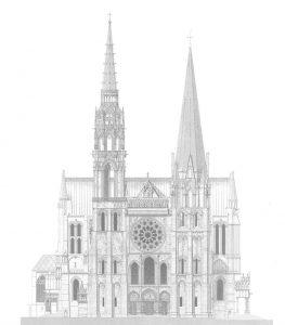 desenho da fachada da catedral de Chartres