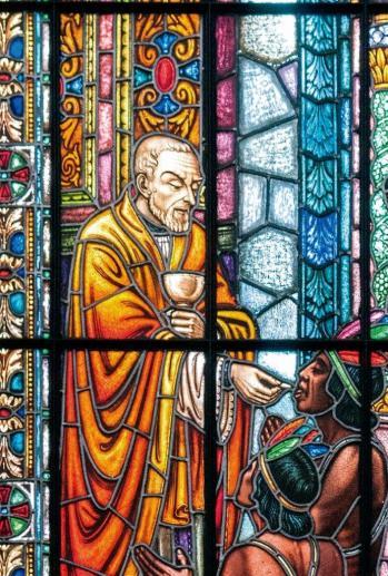 Vitral do Pe. Belchior de Pontes na paróquia São Luiz Gonzaga, dos Padres Jesuítas, na Avenida Paulista, em São Paulo.